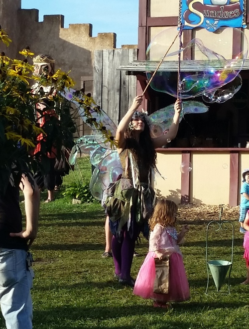At the end of the day on our way out we were treated to 'Zinnia the Fairy'.  Her outfit was wonderful.  And, oh!, her wings!
